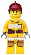 cty0286G Brandweer, donkerrode brandweerhelm, licht oranje pak gebruikt loc
