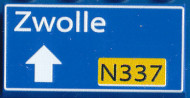 CUS1097 Routebord Zwolle N337 (2x4) blauw NIEUW *0A000