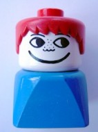 dupfig005 Duplo 2 x 2 x 2 Figure Brick Early, Male on Blue Base, Red Hair, Freckles *