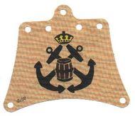 sailbb30-2G Piratenzeil rood/wit zwart doodshoofd crème gebruikt *5D000
