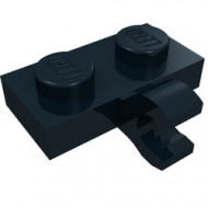 11476-11 Platte plaat 1x2 met horizontale clip LANGE einde zwart NIEUW *1L0000
