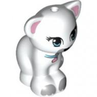 11602pb02-1 Kat zittend met lime ogen, azuur ogen, roze hartje aan band wit NIEUW *0D000