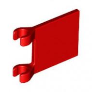 2335-5 Vlag 2x2 vierkant met twee clips rood NIEUW *1L058