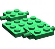 2441-6G Bodemplaat met wielhouders 7x4x2/3 groen gebruikt *3D000