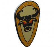 2586p4G-9 Schild ovaal geel, bruine rand, stier Grijs, licht (classic) NIEUW loc