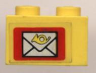 3004pb023-3G Steen 1x2 Brievenbus geel gebruikt *0K000