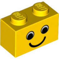 3004px6-3G Steen 1x2 opdruk smile geel gebruikt *0K000