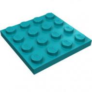 3031-39 Platte plaat 4x4 turquoise, donker NIEUW *5K0000