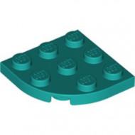 30357-39 Platte plaat 3x3 afgeronde hoek turquoise, donker NIEUW *5G000