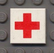 3068bp52-1G Tegel 2x2 Rode Kruis wit gebruikt *0D008