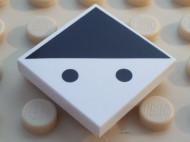 3068bpb0193-1 Tegel 2x2 Twee zwarte stippen en zwarte driehoek wit NIEUW *