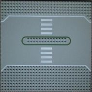 309px2-9G Wegenplaat 32x32 recht servicestation (2 noppen tussen wegen) Grijs, licht (classic) gebruikt loc