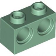 32000-48 Technic, steen 1x2 met 2 gaten (loc10-21) groen, zandkleurig NIEUW *