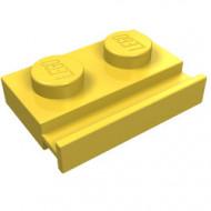 32028-3G Platte plaat 1x2 met deurrail geel gebruikt *1L290/5
