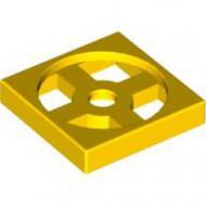 3680-3G Draaischijf 2x2 - ALLEEN BODEM geel gebruikt *0D0004