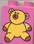 4066pb080-47G DUPLO steen 1x2x2 Teddybeer Roze, donker gebruikt loc