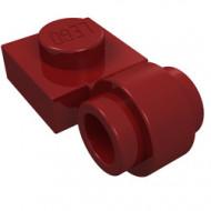 4081b-59 Platte plaat 1x1 met gesloten clip (dikke ring) rood, donker NIEUW *1L187/1