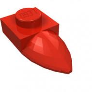 49668-5 Platte plaat 1x1 met tand IN VERLENGDE rood NIEUW *1L290/3
