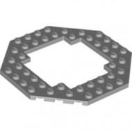 6063-86 Platte plaat achtkantig 10X10 open midden grijs, licht (blauwachtig) NIEUW *