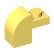 6091-3G Steen 2x1 met afgeronde kop en nop geel gebruikt *1L0000