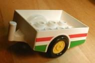 6505pb01-1G DUPLO Aanhangwagen mer rood-groene strepen (OCTAN) Wit gebruikt loc