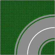 613p01-6G Wegenplaat 32x32 gebogen MET fietspad GROEN 8 noppen zijkant Groen gebruikt loc