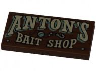 87079pb446-88 Tegel 2x4 ANTON'S BAIT SHOP Bruin, roodachtig NIEUW loc