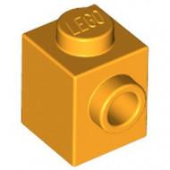 87087-110 Steen 1x1 noppen 1 zijde oranje, lichthelder NIEUW *1L034