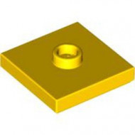 87580-3 Platte plaat 2x2 1 centrale nop geel NIEUW *1L0000