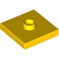 87580-3 Platte plaat 2x2 1 centrale nop geel NIEUW *1L348+9
