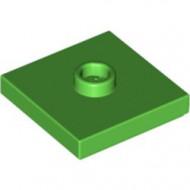 87580-36 Platte plaat 2x2 1 centrale nop groen, helder NIEUW *1L235