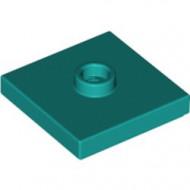 87580-39 Platte plaat 2x2 1 centrale nop turquoise, donker NIEUW *1L348/9