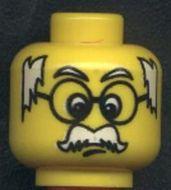 3626bpb0043-3G Hoofd- Man met witte snor, stukjes haar links en rechts, ronde bril Geel gebruikt loc