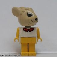 fab3dG Bunny 3 met beige head, wit lichaam MET STRIK, gele armen/benen gebruikt loc