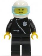 cop004G POLITIE- Helm met tr. Lichtblauw vizier, pak met rits, zwarte broek gebruikt loc