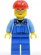 cty0029G Blauwe overall met gereedschap, zilveren zonnebril, rode constructiehelm, blauwe broek, gele handen gebruikt loc
