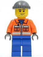 cty0168G Bouwvakker- oranje vest, blauwe benen, baardje, knit gebruikt loc