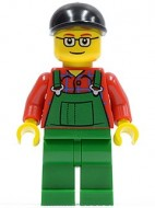 cty0245G Boer, zwarte pet, groene overall op rood hemd, bril gebruikt loc
