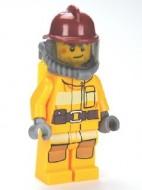 cty0287G Brandweer, donkerrode brandweerhelm, licht oranje pak zuurstofmasker gebruikt loc