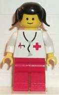 doc001G Dokter - Stethoscope - rode benen, zwart haar met twee staartjes gebruikt loc