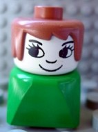 dupfig008 Duplo 2 x 2 x 2 Figure Brick Early, Female on Green Base, Fabuland Brown Hair, Eyelashes, Nose *