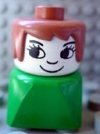 dupfig008 Duplo 2 x 2 x 2 Figure Brick Early, Female on Green Base, Fabuland Brown Hair, Eyelashes, Nose loc
