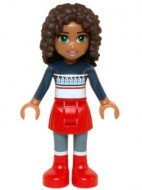 frnd133 Friends- Andrea, rode rok en laarzen, donkerblauwe sweater NIEUW loc
