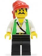 pi051G Piraat groene shirt, rode bandana, zwarte benen gebruikt *0M0000