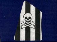 sailbb16-1G Zeil zwarte strepen en doodshoofd wit gebruikt *5D000