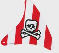 sailbb33-1G Zeil driehoek rode strepen met doodshoofd wit gebruikt *5D000
