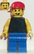 soc004G Plain Black Torso met gele armen, blauw benen, rode Cap (Soccer Fan) gebruikt loc