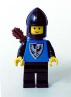 cas254G Black Falcon - Zwarte helm kinbescherming, blauw pak met valken wapen, pijlenkoker gebruikt loc