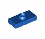 15573-7 Platte plaat 1x2 met 1 nop (loc 01-5) Blauw NIEUW loc