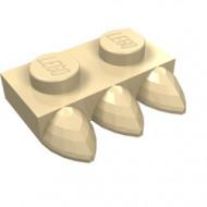 15208-2 Platte plaat 1x2 met drie tanden crème NIEUW *1L0000
